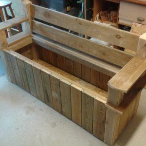 Banc coffre en bois de récup