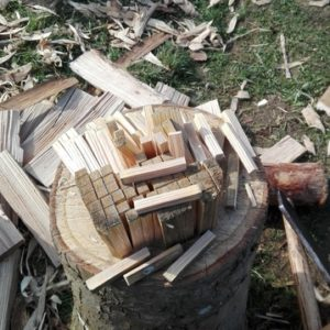 cheville en bois faite au départoir